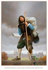 Pilgrim carrying his burden of sin
